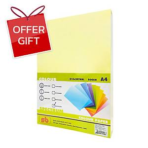 SB Coloured A4 Copy Paper 80G Yellow Ream of 500 Sheets