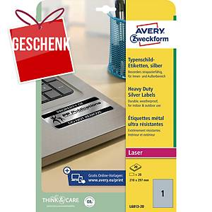Avery besonders resistente Etiketten L6013, Polyester, 210 x 297 mm, silber
