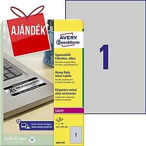 Avery L6013-20 poliészter ezüst etikettek 210 x 297 mm, 1 etikett/ív, 20 ív
