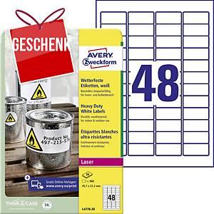 Avery Zweckform wetterfeste Etiketten, Polyester, weiß, 45,7 x 21,2 mm