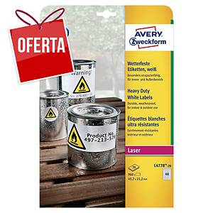 Pack de 960 etiquetas adesivas Avery L4778-20 - 47,5 x 21,2 mm - branco