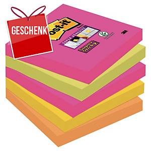 3M Post-it® 654S Super Sticky Blöcke 76x76mm, bunt, Pack. 5 Blöcke/90 Blatt