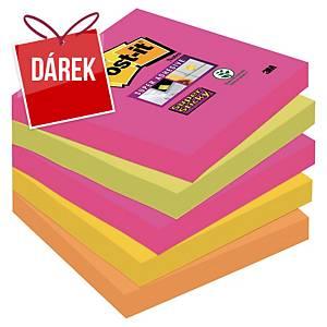 3M Post-it® 654S Super Sticky bločky 76x76 mm, barevné, bal. 5 bločků/90 lístků