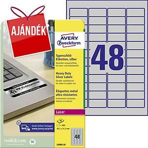 Avery címke, 45,7 x 21,2 mm, poliészter, ezüst, 48 darab/ív