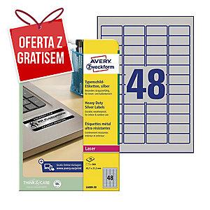 Etykiety znamionowe AVERY ZWECKFORM 45,7x21,2mm, srebrne, 960 etykiet