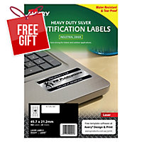 AVERY L6009 HEAVY DUTY LABELS 45.7X21.2MM SILVER - PACK OF 20