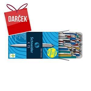 Guľôčkové pero Schneider K15, klikacie, modré, mix farieb, 50 ks/bal