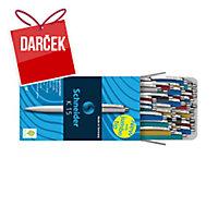 Guľôčkové pero Schneider K15, klikacie, balenie 50 ks, farebný mix, modré