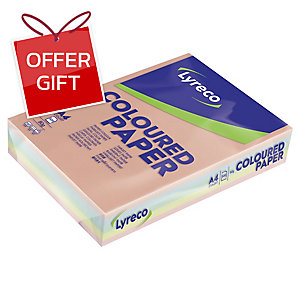 LYRECO PASTEL COLOURED PAPER A4 80G ASSORTED COLOURS - REAM OF 500 SHEETS