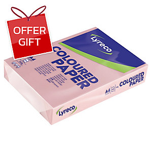 LYRECO CARD A4 160GSM PINK - PACK OF 250 SHEETS