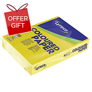 LYRECO INTENSE COLOURED PAPER A4 160G YELLOW - REAM OF 250 SHEETS