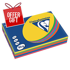 TROPHEE INTENSE COLOURED PAPER A4 80G ASSORTED COLOURS - REAM OF 500 SHEETS