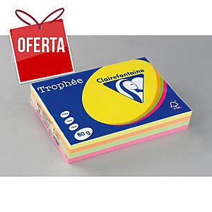 Pacote de 500 folhas de papel A4 de 80 g/m2, cores flúor TROPHEE
