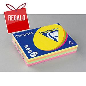 Paquete de 500 hojas de papel A4 de 80 g/m2, colores flúor TROPHEE