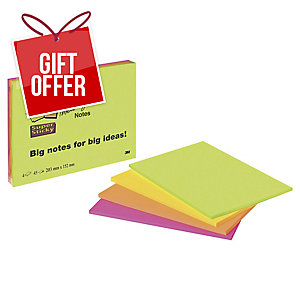 POST-IT SUPER STICKY MEETING NOTES NEON 200X149MM - PACK 4