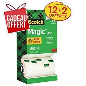 Ruban adhésif invisible Scotch Magic - 19 mm x 33 m - 12 rouleaux + 2 offerts