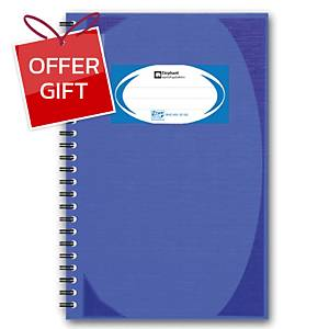 ELEPHANT WHC402 HARD COVER WIREBOUND NOTEBOOK BLUE 100 SHEETS