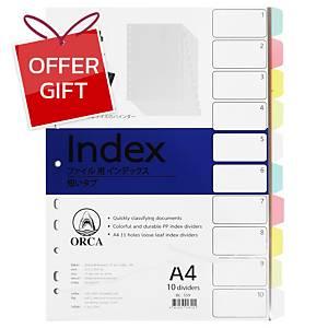 ORCA Plastic Paper Divider Index A4 10 Tabs 5 Colours