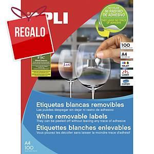 Caja de 6500 etiquetas removibles Apli 03052 - 38 x 21,12 mm - blanco