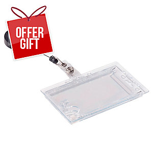 Durable Dual Security Pass Holder With Badge Reel 54X85mm Transparent - Pk of 10