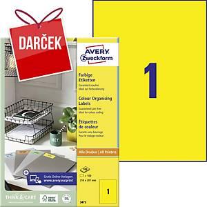 Žlté etikety Avery, 3473,  210 x 297 mm, 100 etikiet/balenie