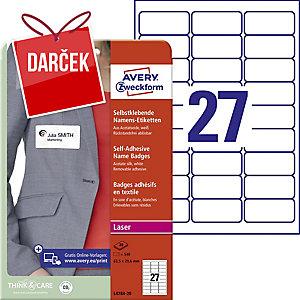 Samolepiace menovky Avery Zweckform, 63,5 x 29,6, 27 etikiet/hárok