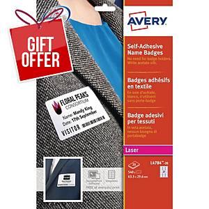 Avery L4784-20 Self Adhesive Name Badges, 63.5 x 29.6 mm, 27 Labels Per Sheet