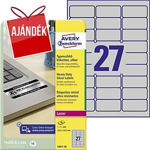Avery címke, 63,5 x 29,6 mm, poliészter, ezüst, 27 etikiet/hár