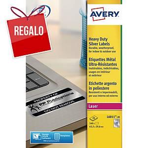 Caja de 540 etiquetas Avery L6011-20 - 63,5 x 29,6 mm - plata