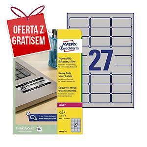 Etykiety znamionowe AVERY ZWECKFORM 63,5x29,6mm, srebrne, 540 etykiet