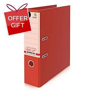ELEPHANT 2100F Lever Arch File Cardboard F 3   Red