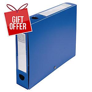 EXACOMPTA PRESS STUD FILING BOX, 25X33CM, 40MM SPINE, A4 - BLUE