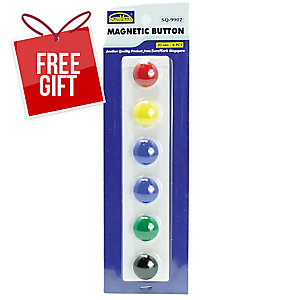 SUREMARK ASSORTED COLOUR BUTTON MAGNET 20MM - PACK OF 6