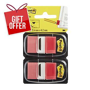 Post-It Index Dual Pack 25 X 44mm Red - 2 Dispensers of 50
