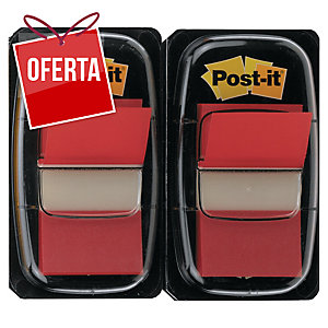Pack 2 dispensadores Post-it index 1   cor vermelho, 50 marcadores x dispensador