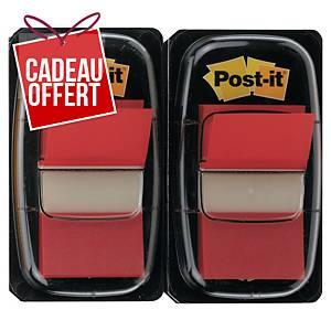 Marque-pages Post-it standard avec distributeur - rouge - 2 x 50 feuilles