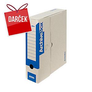 Archivačné prenosné krabice Emba 33 x 26 x 7,5 cm modré, balenie 25 kusov