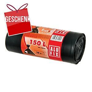 Alufix Müllbeutel LDPE igelit, 150 l schwarz