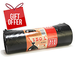 PK10 WASTE BAGS ROLL POLY 150L BLACK
