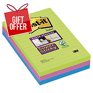 POST-IT SUPER STICKY NOTES ULTRA COLOURS RULED 102 X 152MM 3 PAD PACK