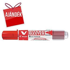 Pilot Begreen V-Board Master marker fehértáblához, gömbölyű hegy, piros