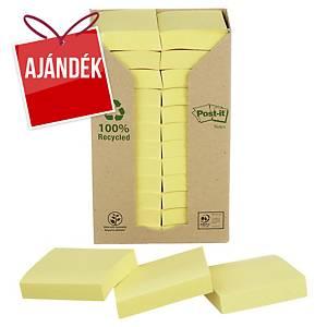 3M Post-it® 653 újrahaszn. öntap. jegyzettömb, 51x38 mm, sárga, 24 tömb/100 lap