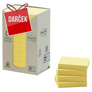 Recykl. samolep. bločky 3M Post-it® 653, 51x38mm, žlté, bal. 24 bločk/100 líst