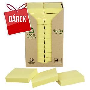 Recykl. samolep. bločky 3M Post-it® 653, 51x38mm, žluté, bal. 24 bločk/100 líst