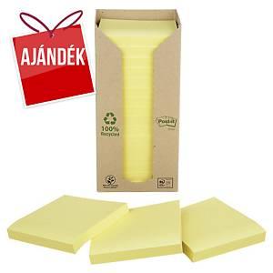 3M Post-it® 654 újrahaszn. öntap. jegyzettömb, 76x76 mm, sárga, 16 tömb/100 lap
