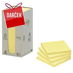 Recykl. samolep. bločky 3M Post-it® 654, 76x76mm, žlté, bal. 16 bločk/100 líst