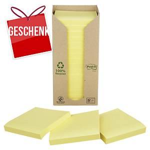 3M Post-it® 654 Haftnotizen recycelt, 76 x 76mm, gelb, 16 Blöck/100 Blatt
