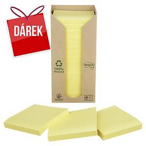 Recykl. samolep. bločky 3M Post-it® 654, 76x76mm, žluté, bal. 16 bločk/100 líst