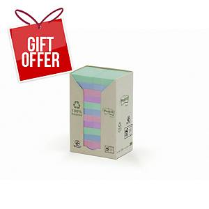 3M Post-It Recycled Notes Tower Of 24 Pads Pastel Colours 38X51Mm