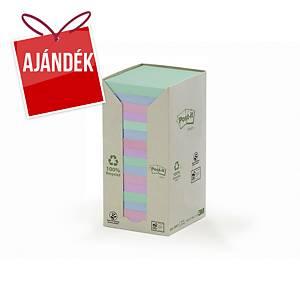 3M Post-it® 654 újrah. öntap. jegyzettömb, 76 x 76 mm, színes, 16 tömb/100 lap